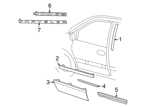 Belt Molding, LEFT for 2002 Chrysler Town & Country