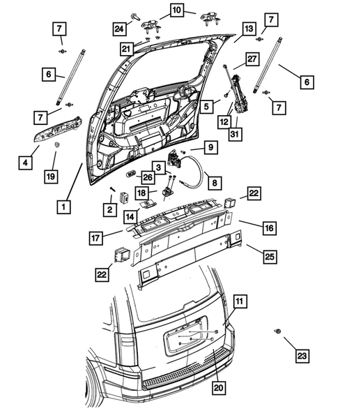 Liftgate and Tail gate for 2013 Chrysler Town & Country