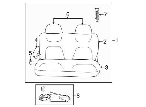 REAR SEAT COMPONENTS for 2005 Dodge Grand Caravan