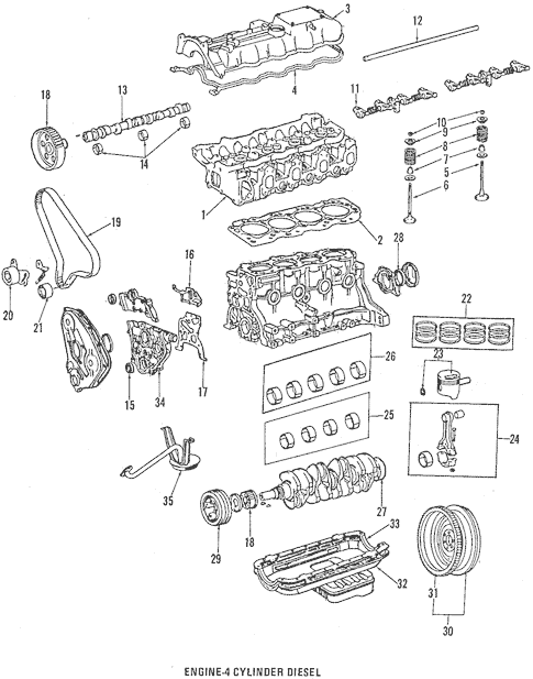 Genuine OEM Engine Parts Parts for 1984 Toyota Pickup DLX