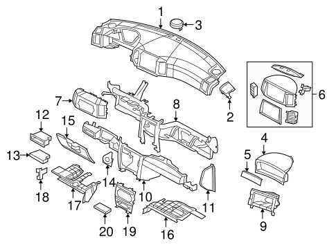 Instrument Panel Components for 2006 Jeep Grand Cherokee
