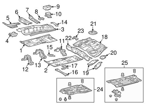 Genuine OEM Floor & Rails Parts for 2010 Toyota Prius Base