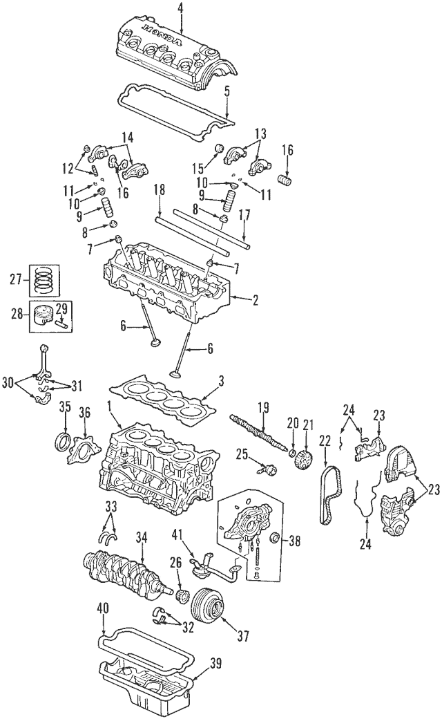 Genuine 1996-2000 Honda Block Assembly, Cylinder (DOT