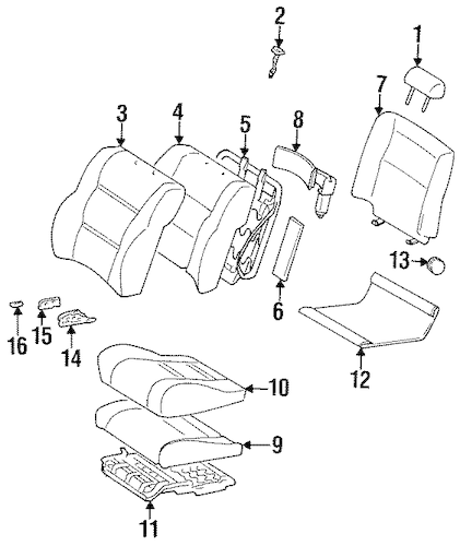 Genuine OEM SEAT COMPONENTS Parts for 1996 Toyota Land