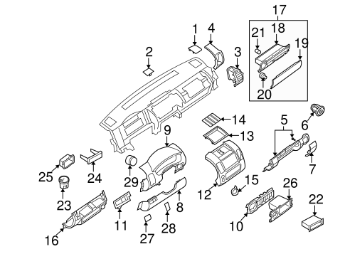INSTRUMENT PANEL COMPONENTS for 2016 Nissan Frontier