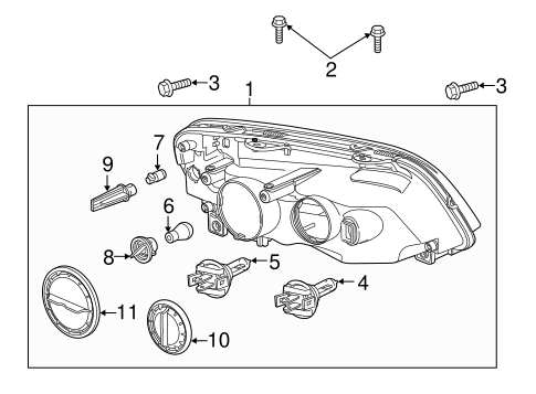 Headlamp Components for 2013 Chevrolet Caprice