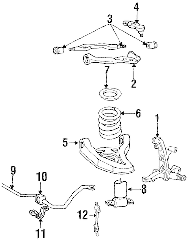 Stabilizer Bar & Components for 1997 Lincoln Town Car