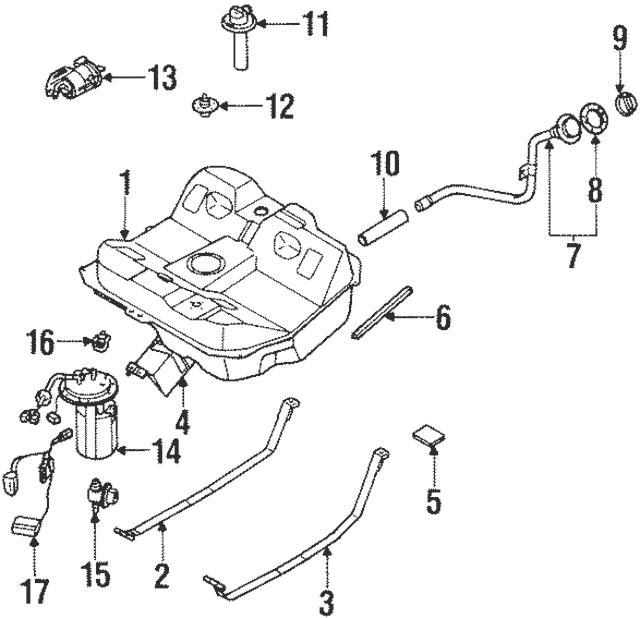 2000-2001 Kia Sephia Fuel Gauge Sending Unit Q0K2N-A60960