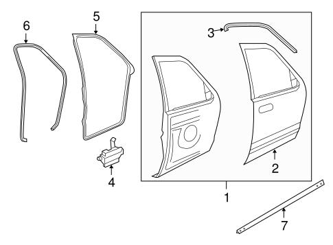 Door & Components for 2007 Ford Explorer Sport Trac