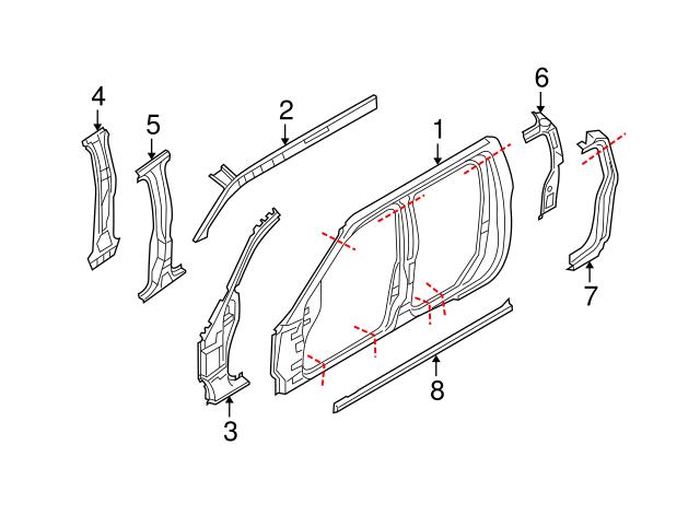 2005-2019 Nissan Hinge Pillar Reinforced G6215-9BNMA