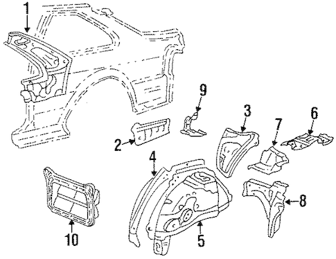 Genuine OEM Inner Structure Parts for 1996 Toyota Tercel