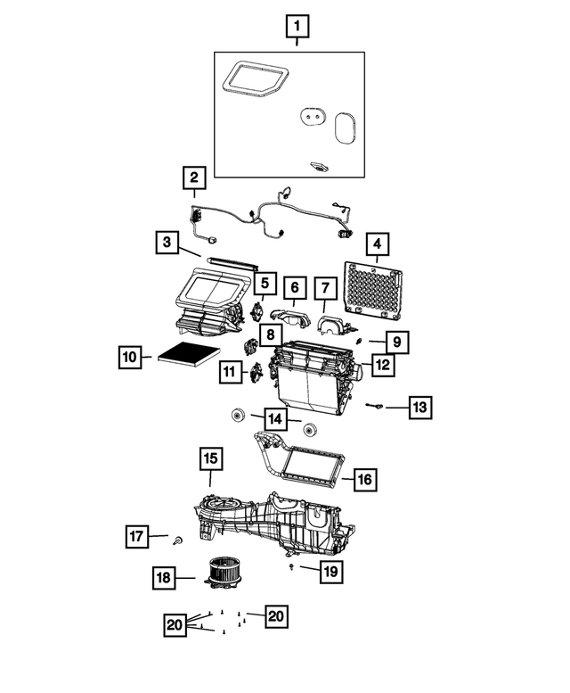 2018-2021 Jeep Wrangler A/C And Heater Wiring 68301853AA