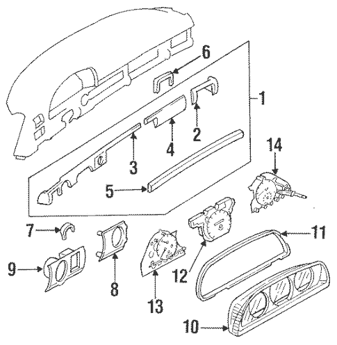 Instrument Panel Components for 1988 Mercedes-Benz 560 SEL