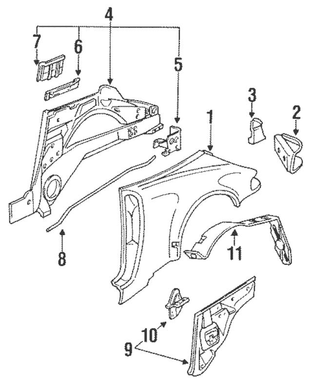 1993-1994 Porsche 911 Outer Panel 965-503-062-60-GRV