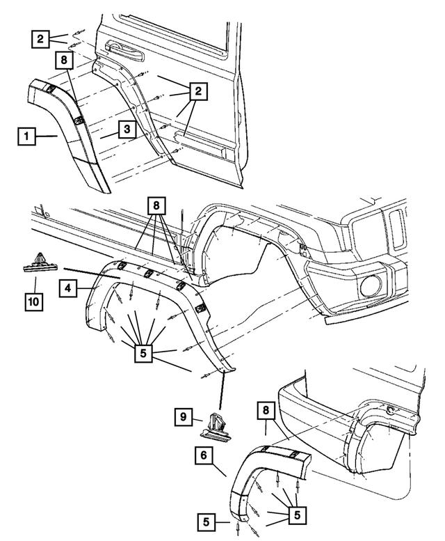 2006-2010 Jeep Commander Rear Wheel Opening Applique, Left