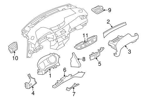 INSTRUMENT PANEL COMPONENTS for 2015 Nissan Rogue