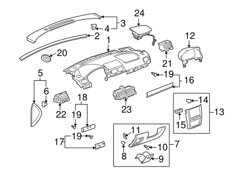 OEM INSTRUMENT PANEL COMPONENTS for 2009 Pontiac G5