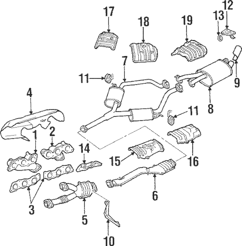 Genuine OEM Exhaust Manifold Parts for 1997 Toyota Supra