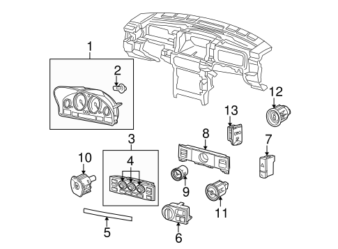 Cluster & Switches for 2005 Land Rover Range Rover
