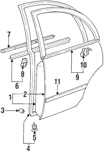 Genuine OEM DOOR & COMPONENTS Parts for 1996 Toyota