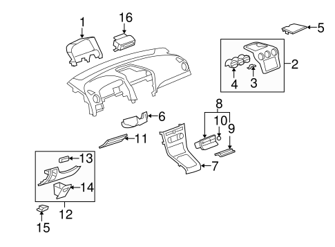 Instrument Panel Components for 2009 Saturn Vue
