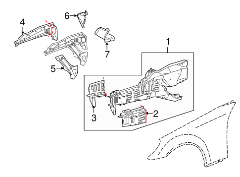 Structural Components & Rails for 2005 Mercedes-Benz SLK