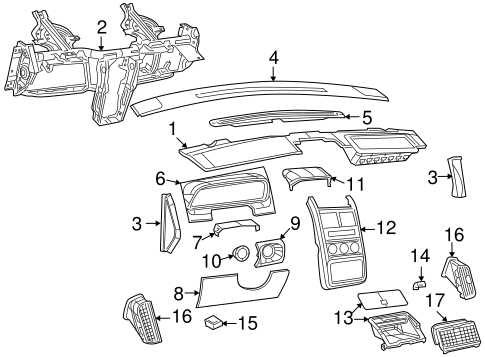 Dodge Body Instrument Panel parts for a 2009 Dodge Journey