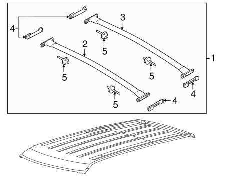 2011-2016 Ford Explorer Black Roof Rack Cross Bars 2 Piece