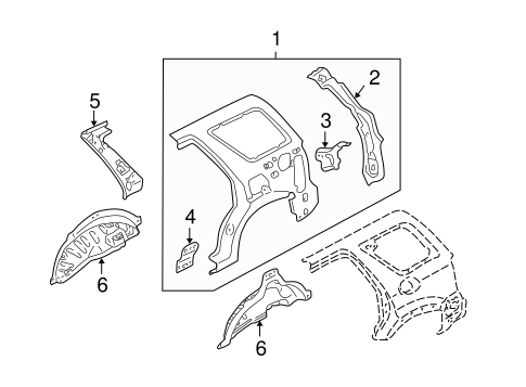 INNER STRUCTURE for 2005 Ford Escape
