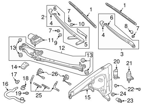 Wiper & Washer Components for 2006 Porsche Cayenne