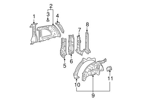 Genuine OEM Inner Structure Parts for 2004 Toyota RAV4