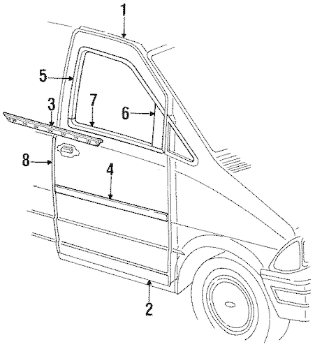 DOOR & COMPONENTS for 1996 Ford Aerostar
