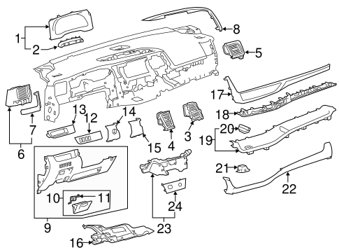 Instrument Panel Components for 2015 Toyota Highlander