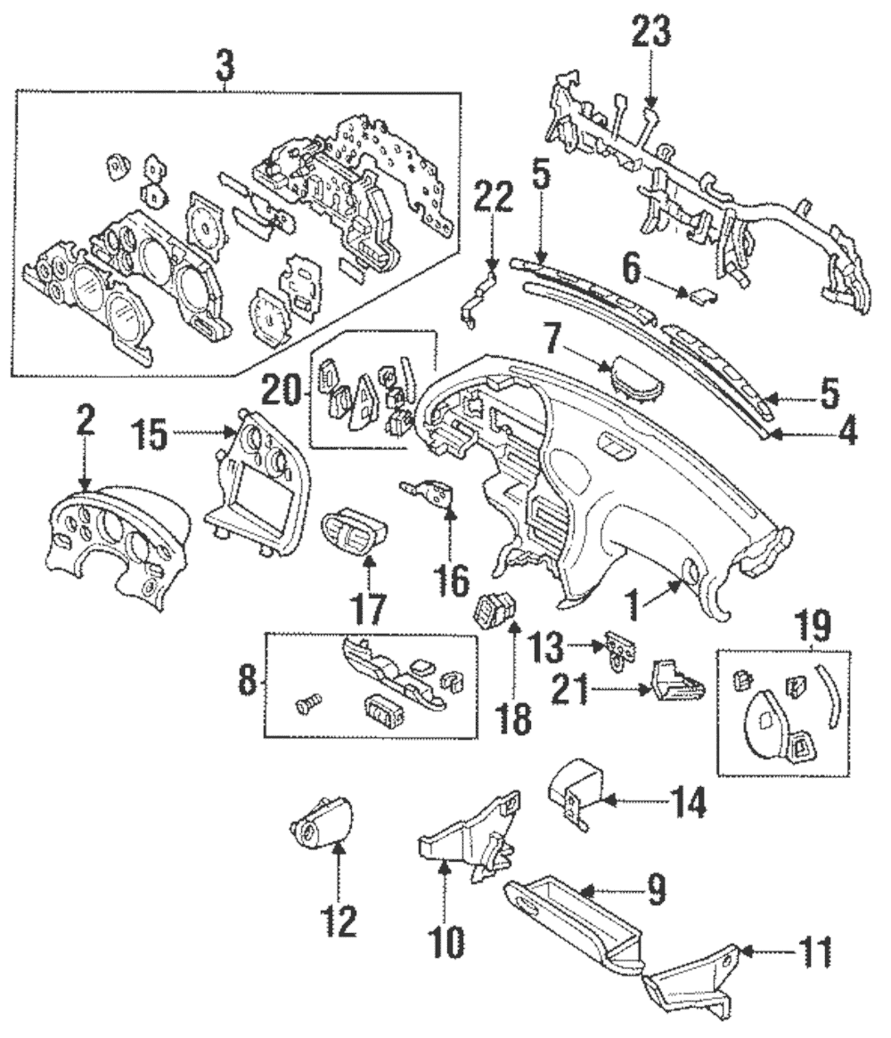 OEM NEW 1993-1995 Mazda RX7 Coupe Black Defrost Center