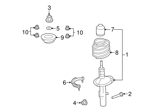 STRUTS & COMPONENTS for 2008 Ford Taurus
