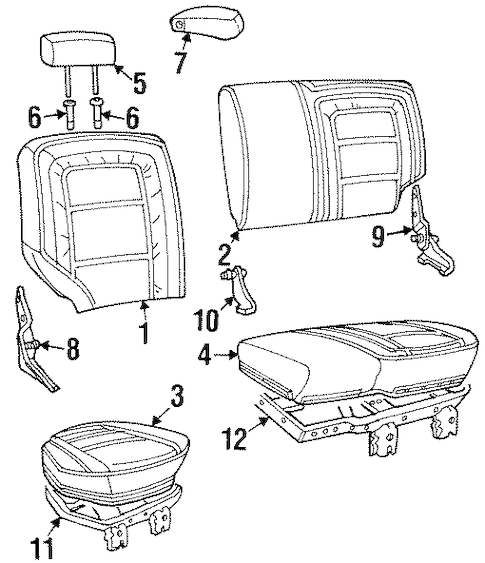 REAR SEAT COMPONENTS for 1997 Jeep Grand Cherokee