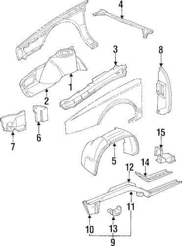 OEM STRUCTURAL COMPONENTS & RAILS for 1990 Cadillac