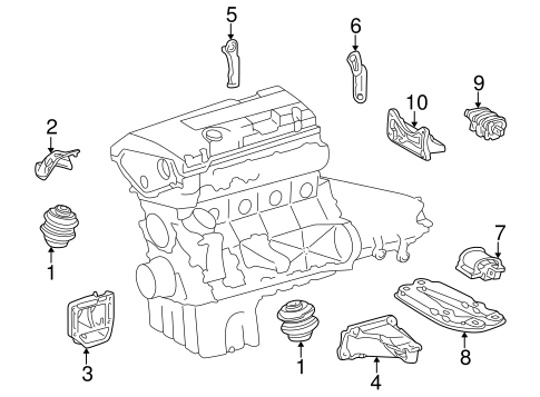 Engine & Trans Mounting for 1998 Mercedes-Benz C 280