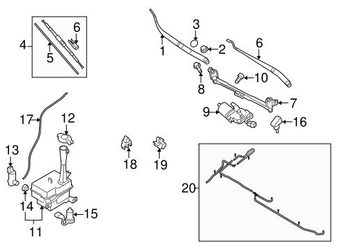 Wiper & Washer Components for 2010 Hyundai Elantra