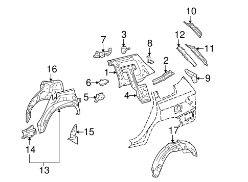 Genuine OEM Inner Structure Parts for 2012 Toyota