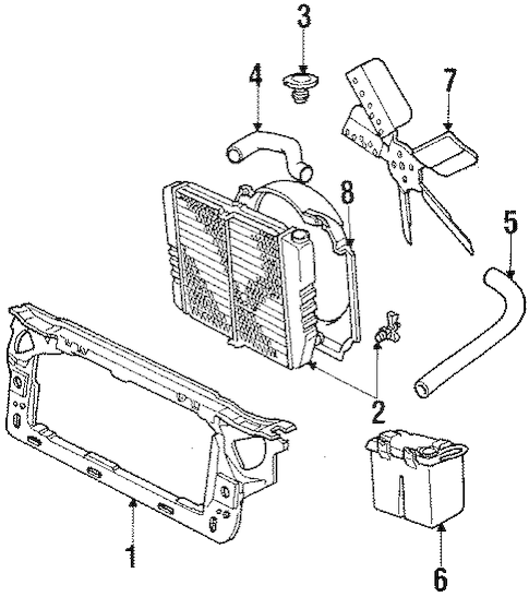 RADIATOR SUPPORT for 1986 Lincoln Town Car
