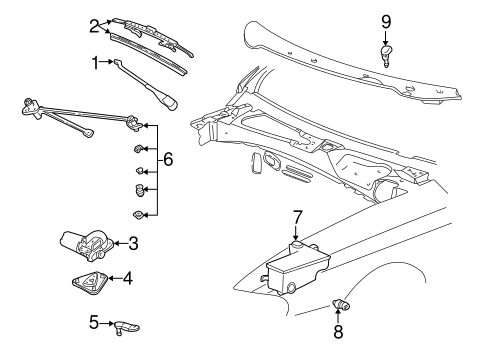 WIPER & WASHER COMPONENTS for 2003 Ford Mustang