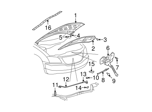 HOOD & COMPONENTS for 2005 Chrysler Pacifica