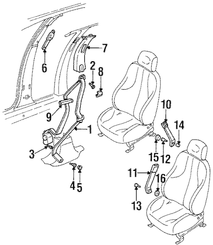 OEM 1996 Buick Skylark Front Seat Belts Parts