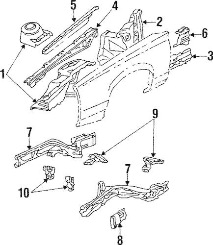 OEM 1990 Buick Skylark Structural Components & Rails Parts