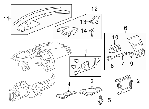 INSTRUMENT PANEL COMPONENTS for 2008 GMC Acadia