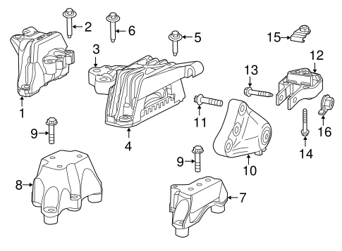 Engine & Trans Mounting for 2013 Dodge Dart Parts