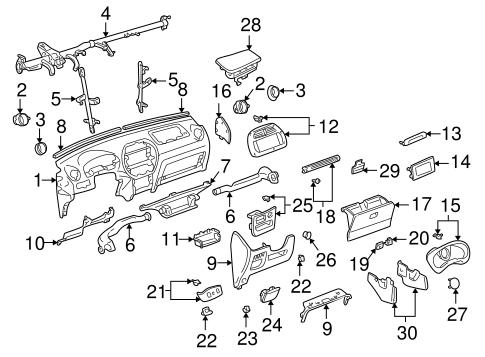 Genuine OEM Instrument Panel Parts for 2004 Toyota RAV4
