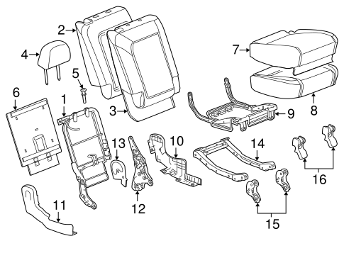 REAR SEAT COMPONENTS for 2014 Chevrolet Captiva Sport
