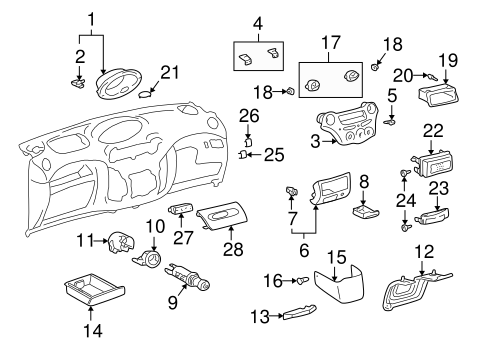 Instrument Panel Components for 2001 Toyota Echo